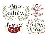 4 hand-lettering quotes about food Bless this kitchen. Baked with love. Enjoy your food. Count blessings, not calories. Logo. Sign. Symbol stock illustration