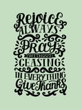 Hand lettering rejoice Always. Pray without ceasing. In everything give thanks. Biblical background. Christian poster. Modern calligraphy. Scripture. Card Stock Photography