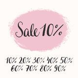 Hand-lettering sale badge with numbers. You can use it for web-banners, print flyers or posters. Stock Photos