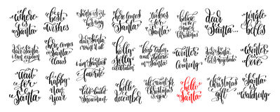 25 hand lettering set to christmas holiday design, winter time   Royalty Free Stock Image