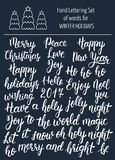 Hand lettering set of words for winter holidays. Brush calligraphy. Vector Stock Images