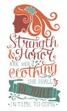 Hand lettering Strength and honor are her clothing, she shall rejoice in time to come with woman s face. Biblical background. Christian poster. Scripture Stock Images