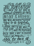 Hand lettering The temptation is not nothing but human and true God Stock Photography