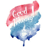 Hand lettering with text - good morning. Text inside watercolor background .Vector illustration Royalty Free Stock Images