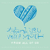 Hand lettering thank you card Stock Photography