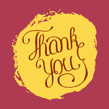 Hand lettering thank you on grunge brush background. Vector illu. Stration for your design Stock Image