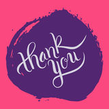 Hand lettering thank you on grunge brush background. Vector illustration for your design Stock Images