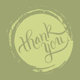Hand lettering thank you on grunge brush background. Vector illustration for your design Royalty Free Stock Photography