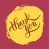 Hand lettering thank you on grunge brush background. Vector illustration for your design Stock Photography