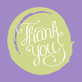 Hand lettering thank you on grunge brush background. Vector illustration for your design Stock Photos