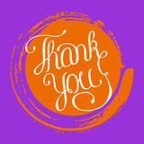 Hand lettering thank you on grunge brush background. Vector illustration for your design Royalty Free Stock Images