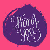 Hand lettering thank you on grunge brush background. Vector illustration for your design Stock Photo