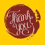 Hand lettering thank you on grunge brush background. Vector illustration for your design Royalty Free Stock Photos