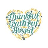 Hand lettering Thankful, grateful, blessed in shape of heart with leaves. Hand lettering Thankful, grateful, blessed in shape of heart. Bible verse. Christian stock illustration