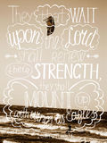 Hand lettering Trust in the Lord will renew their strength, made white color . Royalty Free Stock Image