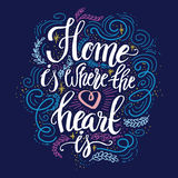 Hand lettering typography poster. Calligraphic quote `Home is where the heart is`.For housewarming posters, greeting cards, home decorations.Vector illustration vector illustration