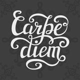 Hand lettering typography poster Carpe diem. Hand lettering typography poster.Inspiratoinal quote Carpe diem (latin translation: seize the day, capture the Royalty Free Stock Photo