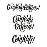 Hand lettering typography word. Congratulations. Hand lettering typography word. For birthday greeting cards, posters, banners, party or home holiday decoration Stock Images