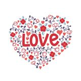 Hand lettering for Valentine`s Day. Love doodle of flowers in the shape of a heart. vector illustration