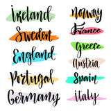Hand lettering. Vector modern calligraphic . Countries of the world Stock Photography