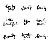 Hand lettering vintage quotes - Hello beautiful. Stock Image