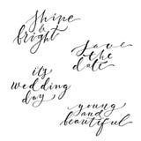 Hand lettering wedding set Royalty Free Stock Photo