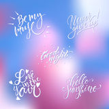 Hand lettering wedding set Royalty Free Stock Photography