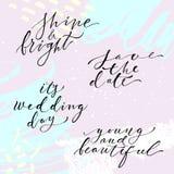 Hand lettering wedding set Stock Photography