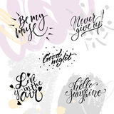 Hand lettering wedding set Stock Photo