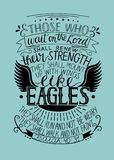 Hand lettering Those who wait on the Lord shall renew their strength. Biblical background. Christian poster. Isaiah. Like eagles royalty free illustration