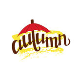 Hand lettering word autumn. Seasonal background Royalty Free Stock Photography