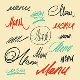 Hand lettering word Menu. Vector set of calligraphic menu headlines. Stock Photos