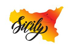 Hand lettering of word Sicily on background of shape of island Sicily with vulcano Etna stock illustration