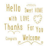 Hand lettering words - Hello, sweet home, with love, thanks, for you, congrats, welcome with golden glitter effect. Royalty Free Stock Photography