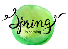 Hand lettering words Spring is coming Royalty Free Stock Photography