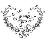 Hand lettering words Thank you with floral wreath Royalty Free Stock Image