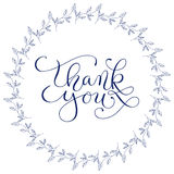 Hand lettering words Thank you with hand drawn floral wreath on white background. Handmade calligraphy, vector Stock Photos
