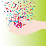 Hand with letters. Hand with colored letters and numbers Royalty Free Stock Photography