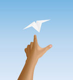 Hand letting off the plane Royalty Free Stock Image