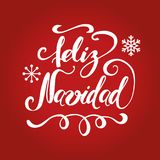Merry Christmas text into circle snowy frame. Banner design template. Inscription in Spanish. Hand lettring text Merry Christmas with white Christmas tree, snow Stock Images
