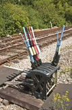 Hand levers for changing rail points Stock Photos