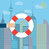 Hand with lifebuoy on a city background. Vector illustration Royalty Free Stock Photos