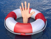 Hand in a lifebuoy Royalty Free Stock Photography