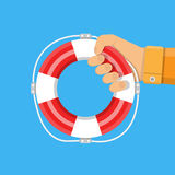 Hand with lifebuoy. support and assistance. Concept. vector illustration in flat style Stock Photography