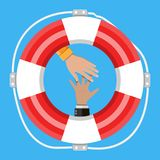 Hand with lifebuoy. Support and assistance concept. Vector illustration in flat style stock illustration