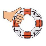 Hand with lifesaver ring. Vector illustration graphic design vector illustration