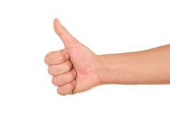 Hand with lifted finger. On white background Royalty Free Stock Image