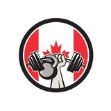 Hand Lifting Barbell Kettlebell Canada Flag Stock Photo