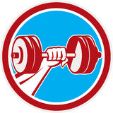 Hand Lifting Dumbbell Front Circle Retro Royalty Free Stock Photography