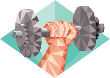 Hand Lifting Dumbbell Low Polygon Royalty Free Stock Photography